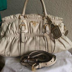 🔴SALE! Auth PRADA Nappa Gaufre Leather Satchel